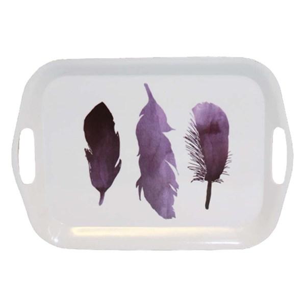 Stadig bricka i melamin med handtag tre fjädrar motiv 36 x 25 cm
