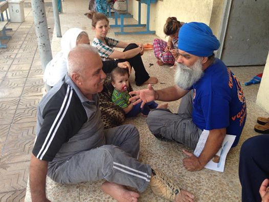 These Yazidi people had to flee their villages due to fear of an attack by ISIS. They are now staying at a makeshift refugee camp in a school in Erbil.  Khalsa Aid installed water filters in this camp so that the refugees have clean drinking water.