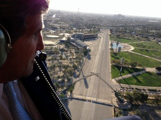 U.S. Secretary of State John Kerry in helicopter over Baghdad. March 2013.