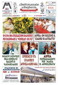 Copertina del Settimanale di Bagheria n.ro 851 del 15 settembre 2019