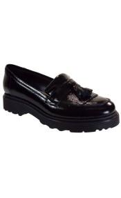 Fardoulis Shoes Γυναικεία Παπούτσια Μοκασίνι 3804 Μαύρο Δέρμα Λουστρίνι