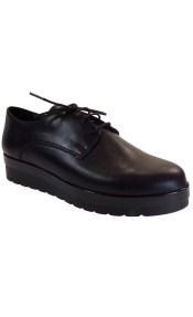 Moods Shoes Γυναικεία Παπούτσια OXFORD 3171 Μαύρο Δέρμα
