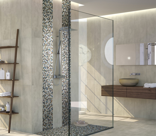 Mosaico bagno vetro e pietra esagono