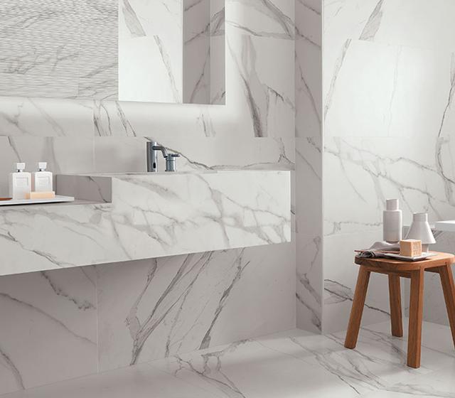 Pavimento effetto marmo Bianco Statuario Fap Ceramiche