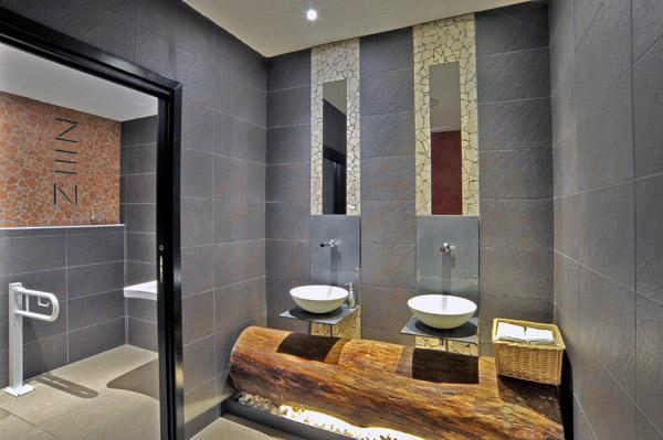 Un bagno Zen realizzato con Trekking le ceramiche in gres porcellanato di NovaBell  Bagnoidea