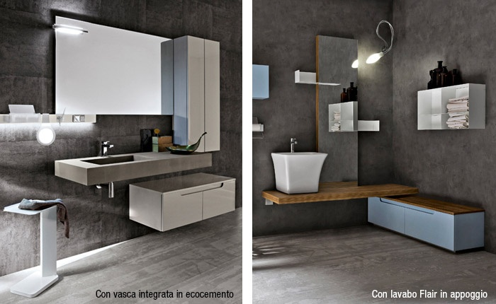 Mensolone con lavabo in appoggio o integrato scopri il bagno Ryo di Cerasa  Bagnoidea