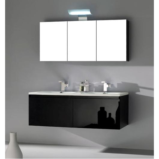 Zeus Bathroom Cabinet 120cm Glossy Black With Mirror