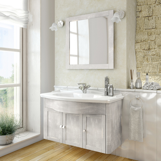 Vintage Bathroom Vanity 114x62 5 Cm Grey Wall Hung With Mirror And Two Wall Lights Tiffany Model