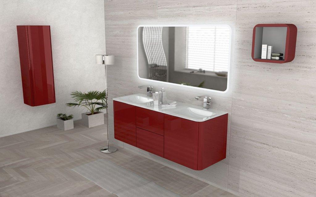 Bathroom cabinet 140 cm double washbasin wallhung in
