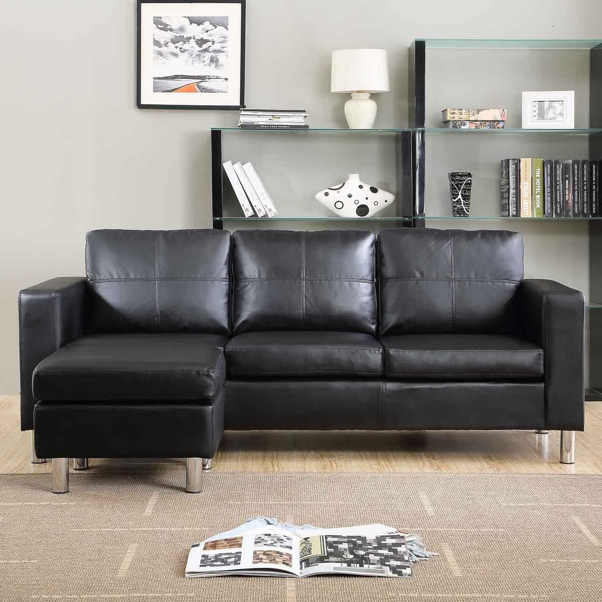 Divano angolare Roma con pouf 205 cm ecopelle bianco nero 3 posti soggiorno letto