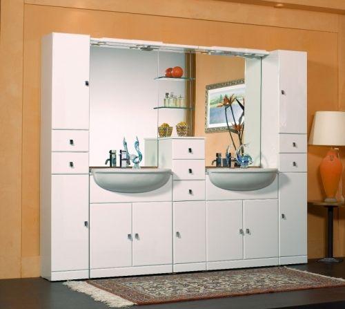 Mobile bagno doppio lavabo Cleo modello componibile bianco