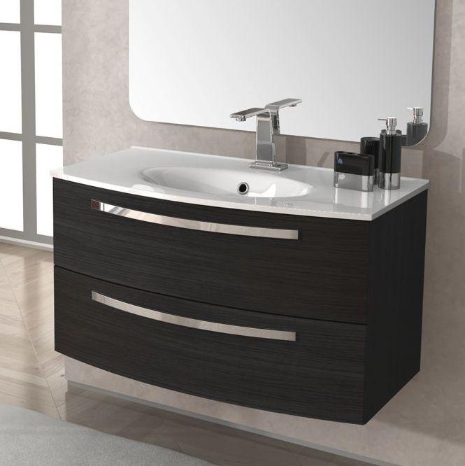 Arredo mobile da bagno 100 cm lavabo ceramica grigio scuro