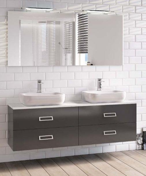 Mobile da Arredo per Bagno 160 cm doppio lavabo con 2 o 4 cassetti in 30 colori  eBay