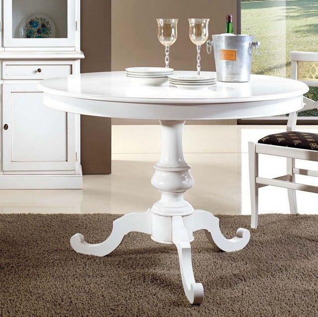 Tavolo Vivian rotondo colore bianco opaco diametro 100 o 120 cm disponibile anche con sedie