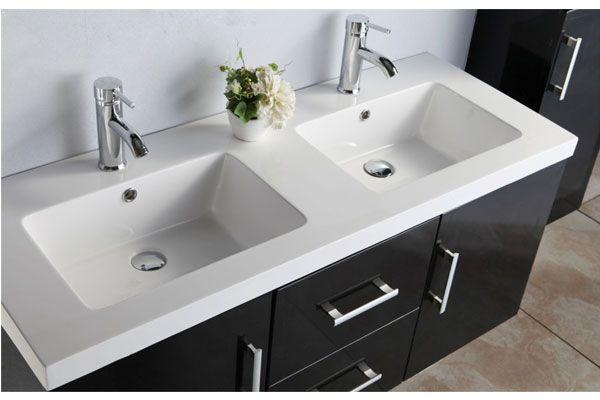 Mobile bagno Taiti 120 cm bianco o nero doppio lavabo in ceramica 1colonna e miscelatori in omaggio