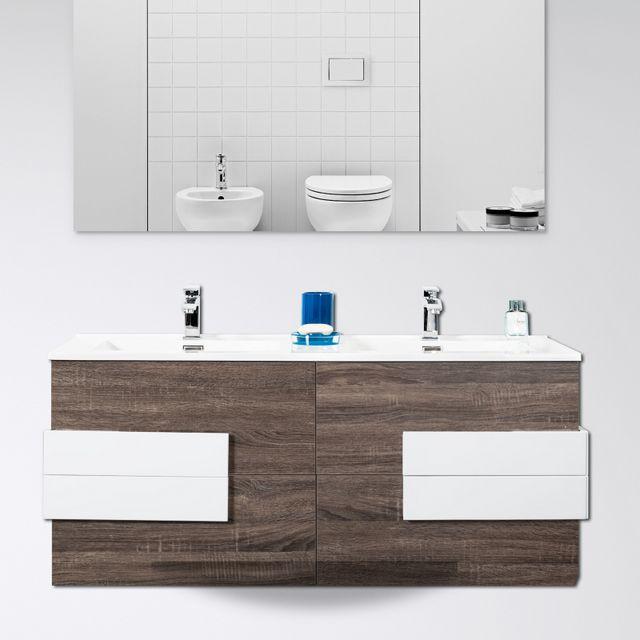 Mobile da bagno sospeso doppio lavabo con specchio design