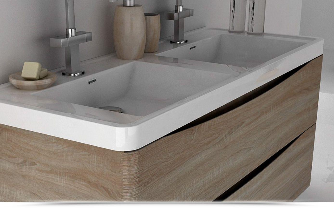 Mobile Bagno cm 120 con doppio lavabo color rovere effetto legno con due cassettoni chiusura