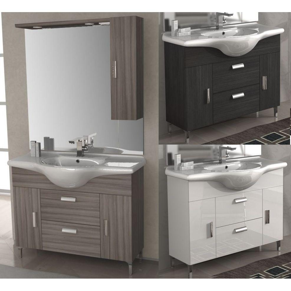 Mobile bagno rovereto 85 105 cm con piedini bianco lucido larice wenge grigio lavabo in ceramica
