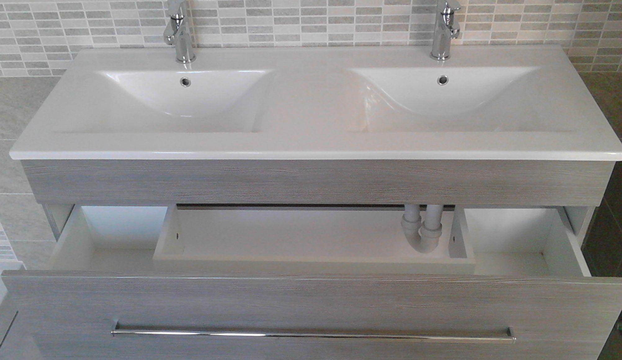 Mobile Bagno Sirio doppio lavabo cm 120 con 2 colori e