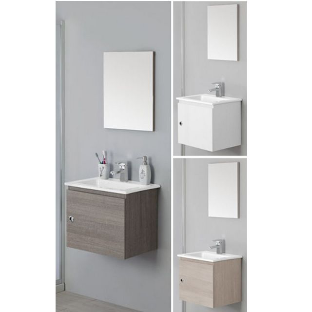 Arredo bagno mobile cm 50 bianco laccato con lavabo in ceramica br