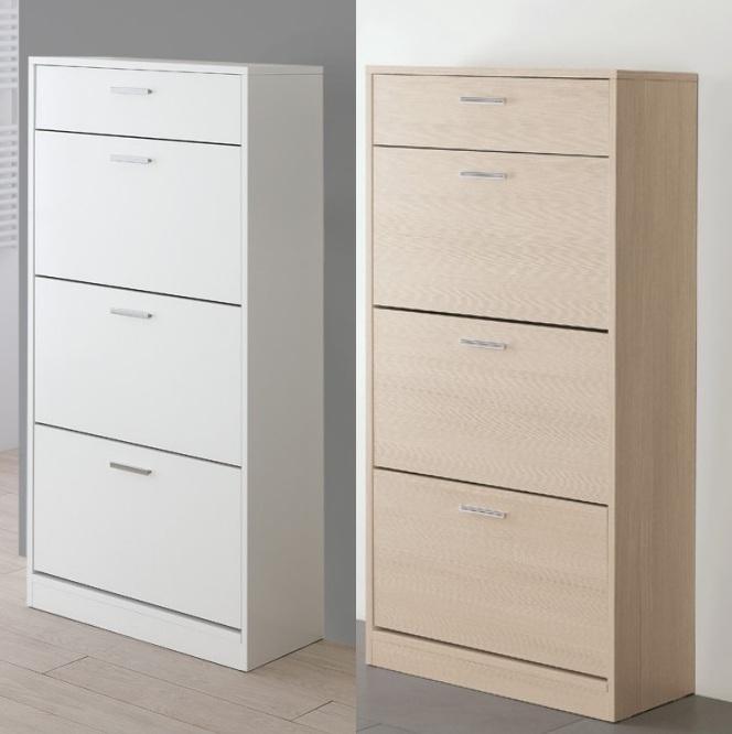 Scarpiera in legno mdf a 3 o 4 ripiani in 3 colorazioni e