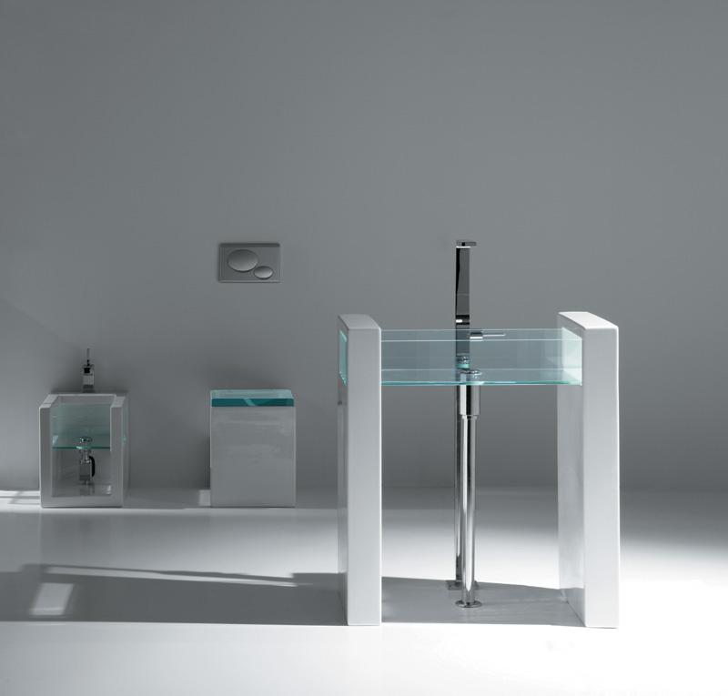 Sanitari Glass  lavabo centro stanza