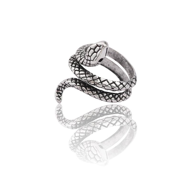 Vintage Punk Animal Ring Men Silver Snake Rings For Women