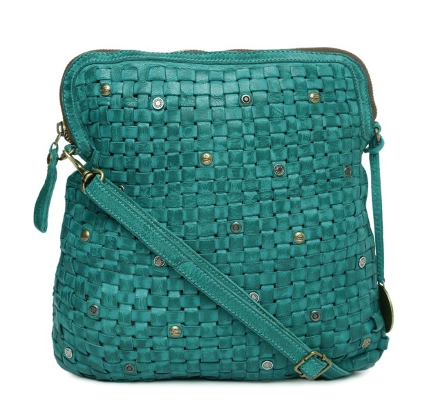 KOMPANERO Teal Green Interwoven Metallic Studded Leather Sling Bag