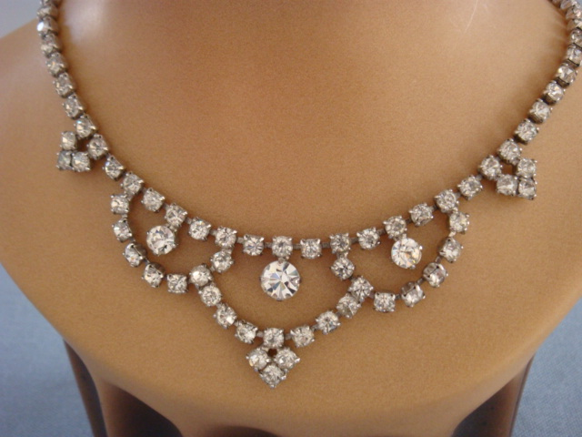 1950s Vintage Diamante Necklace With Swagged Detail Sold