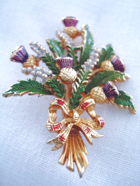 1960 S Signed Exquisite Brooch Scottish Thistles With