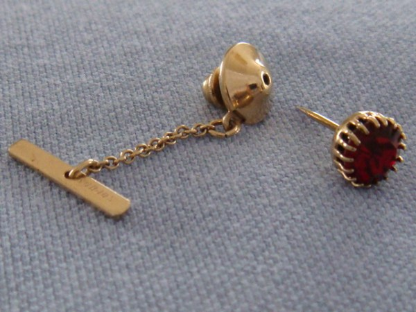 Sophos Vintage Tie Tack Gold Plated with Red Jewel circa