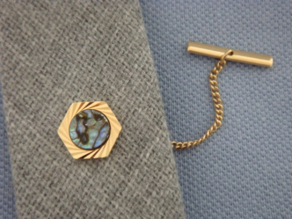 Vintage Tie Tack set with Abalone Shell Gold Plated Tie