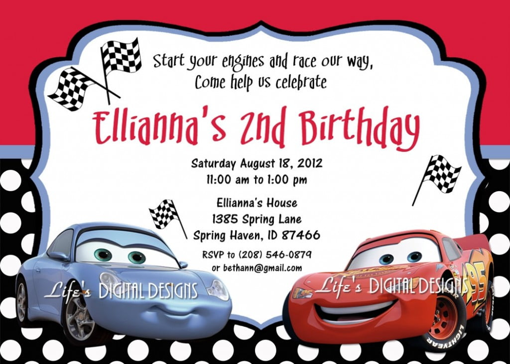 cars birthday invitations free