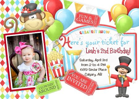 circus party invitation ideas free
