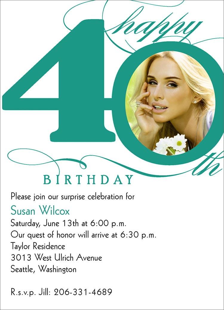 40th birthday invitation wording free