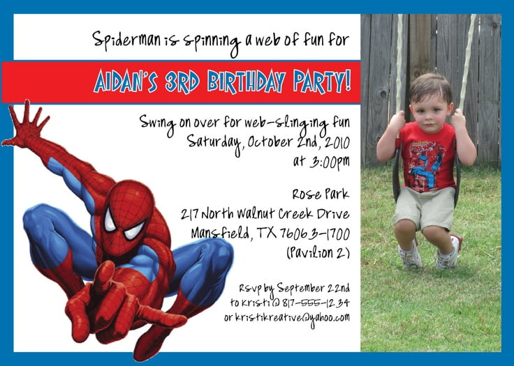 spiderman birthday invitations free