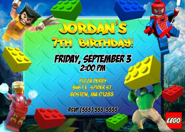 Superhero Lego Birthday Party Invitation FREE Printable