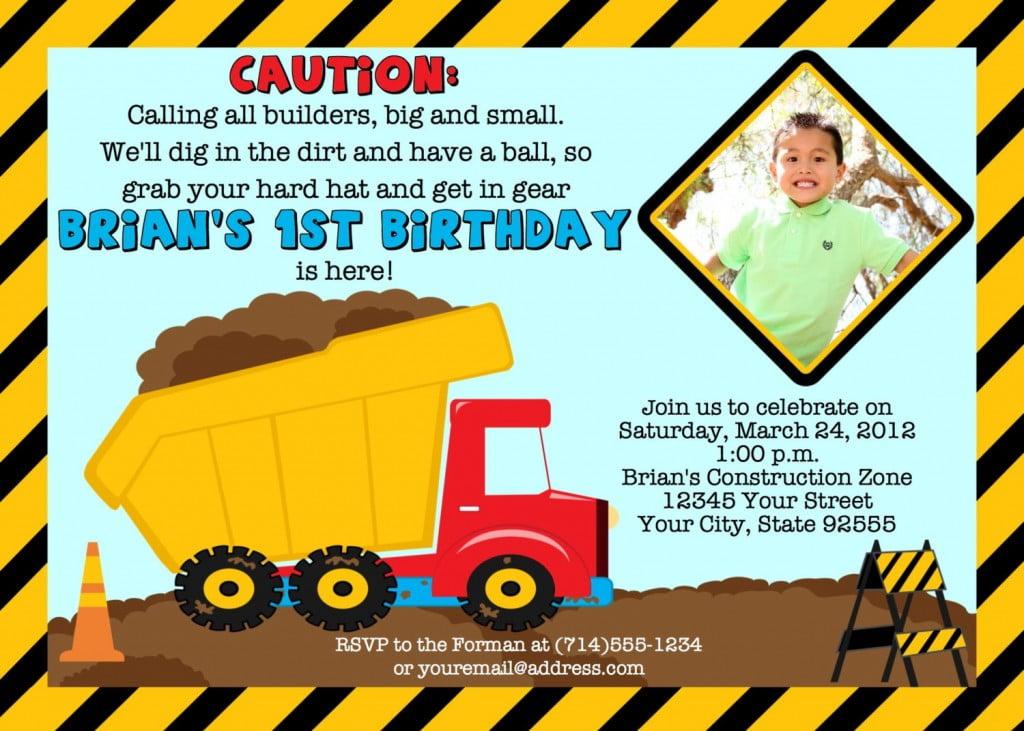 construction birthday invitations ideas