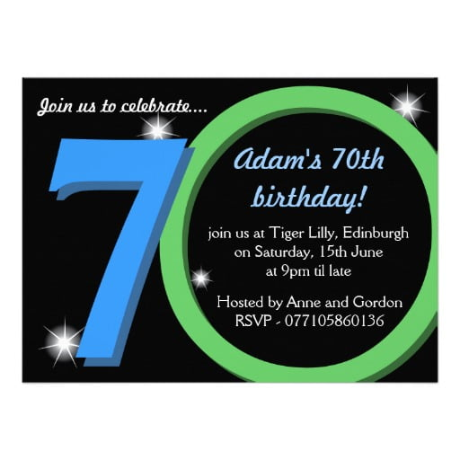 70th Birthday Party Invitations For Men
