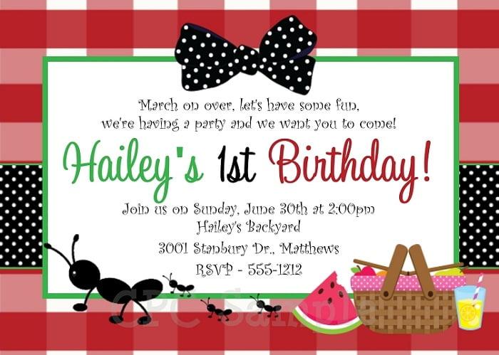 picnic birthday party invitations ideas