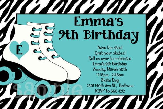 roller skating birthday invitations