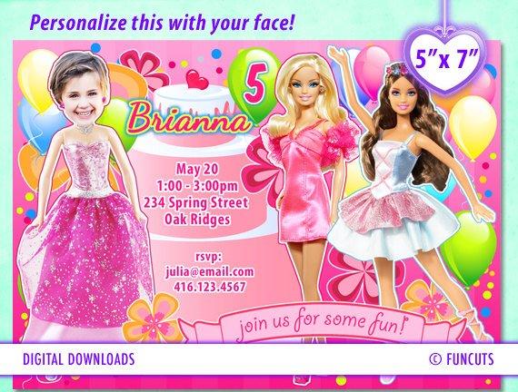 barbie birthday invitations free