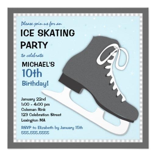 ice skating birthday invitations free