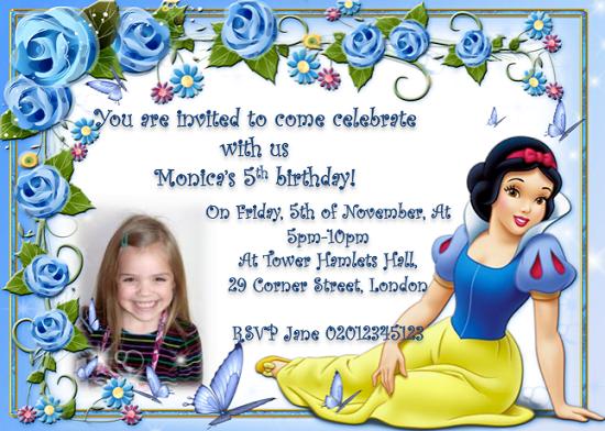 snow white birthday invitations free