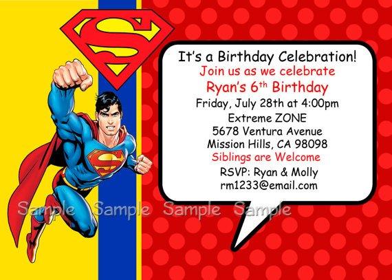 superman birthday invitations free