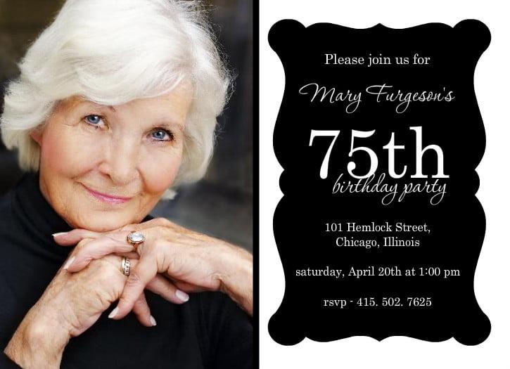 75th birthday invitations ideas free