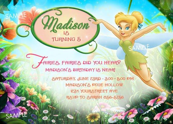 tinker bell birthday party invitatiion