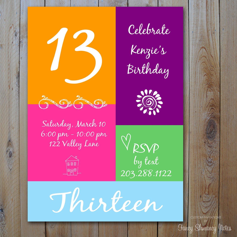 free 13th birthday invitations