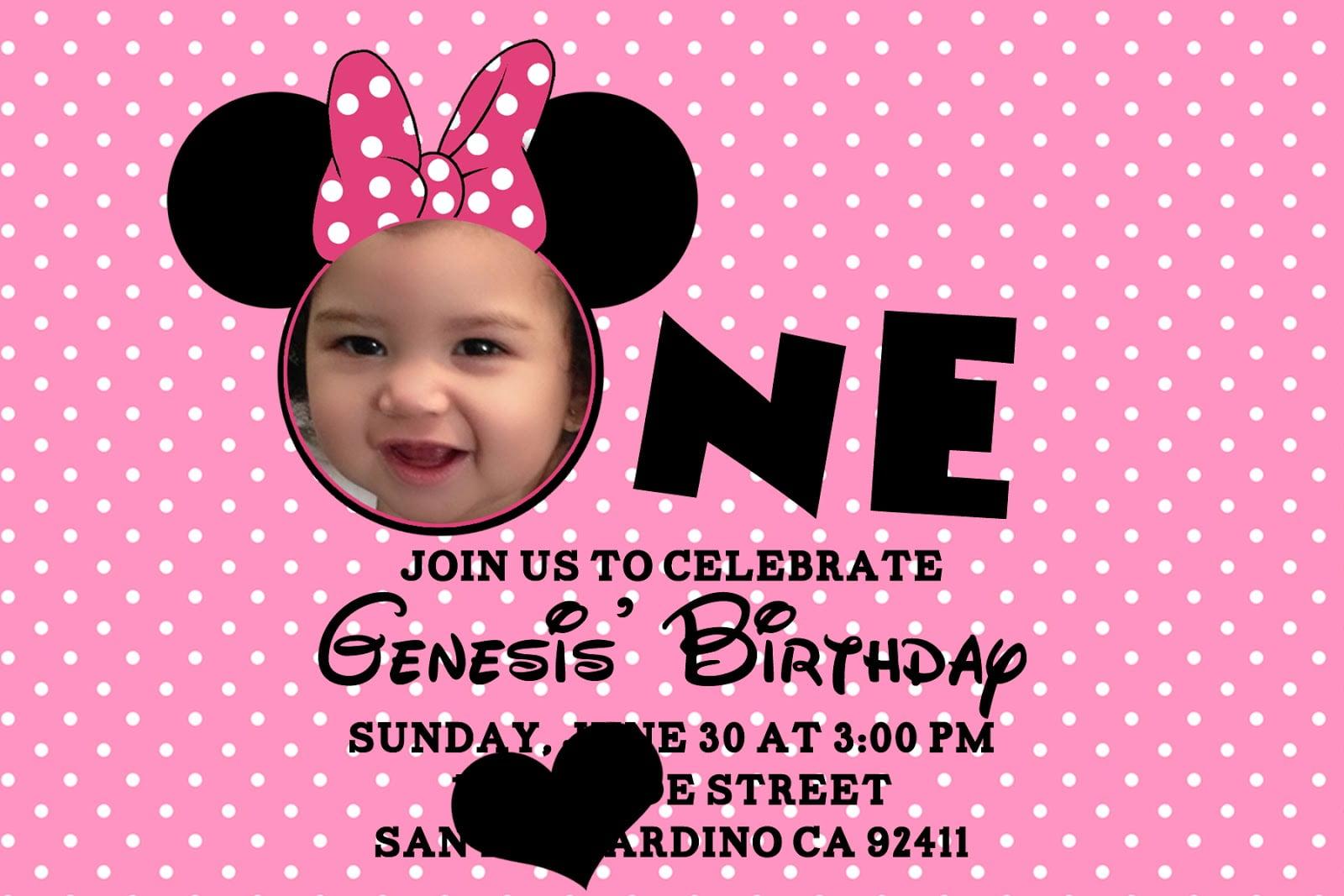 free minnie mouse 1st birthday invitations templates