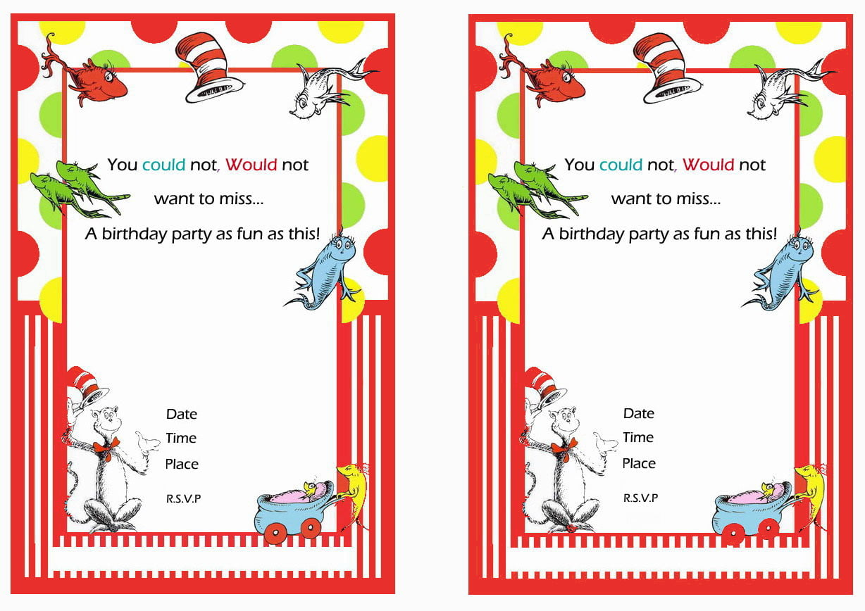 Free Printable Dr Seuss First Birthday Invitations